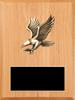 LSR-PLQ-SOL-PC50B: Solid Wood w/Laser Engraved Black Brass Plate & Eagle Casting