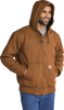 CT104050 Carhartt BrownWashed Duck Active Jacket 3Q Model with hood up