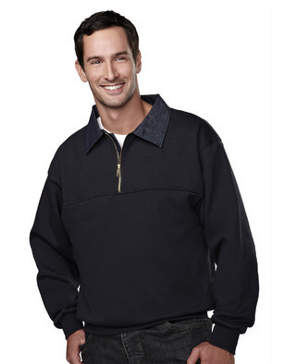 645-Alert: Job Shirt 1/4 Zip with Denim Collar by Tri-Mountain