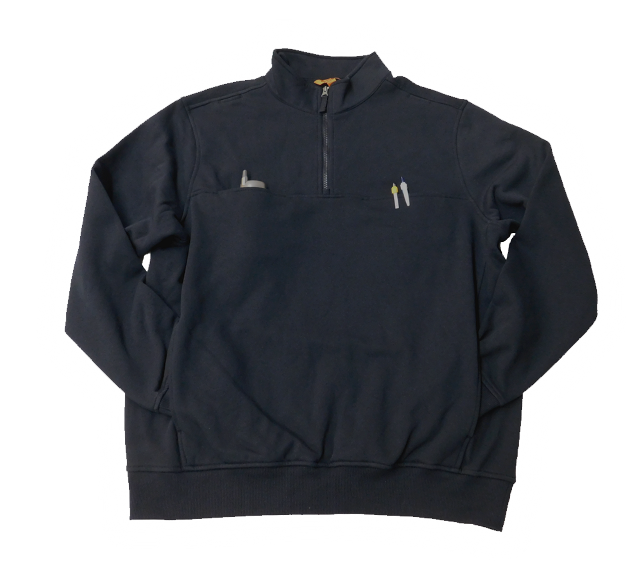 Pocket View of Dark Navy CS410 - Includes two side pockets, two chest pockets, and mic clip