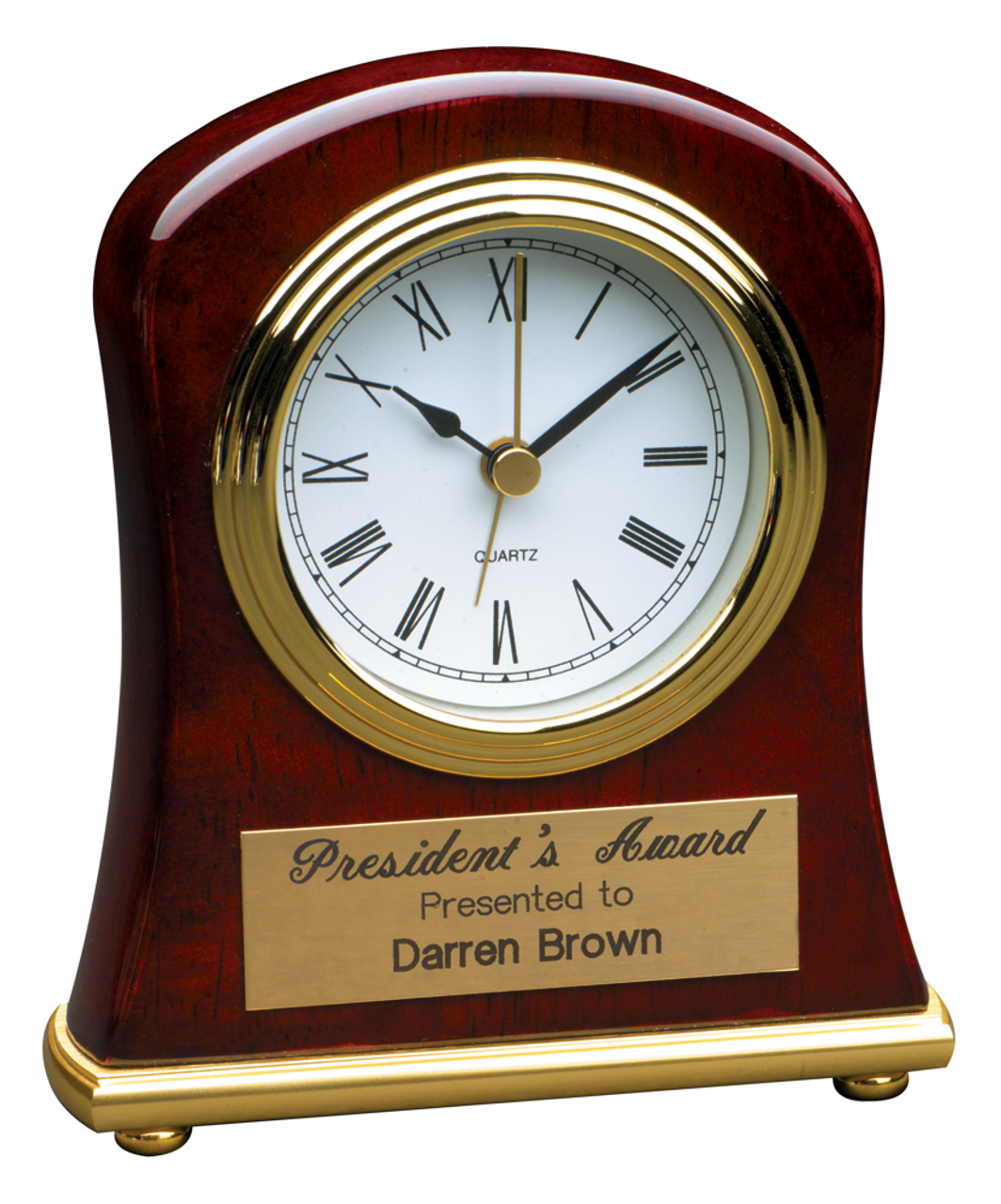 T006: Rosewood Piano Finish Bell Shaped Desk Clock
