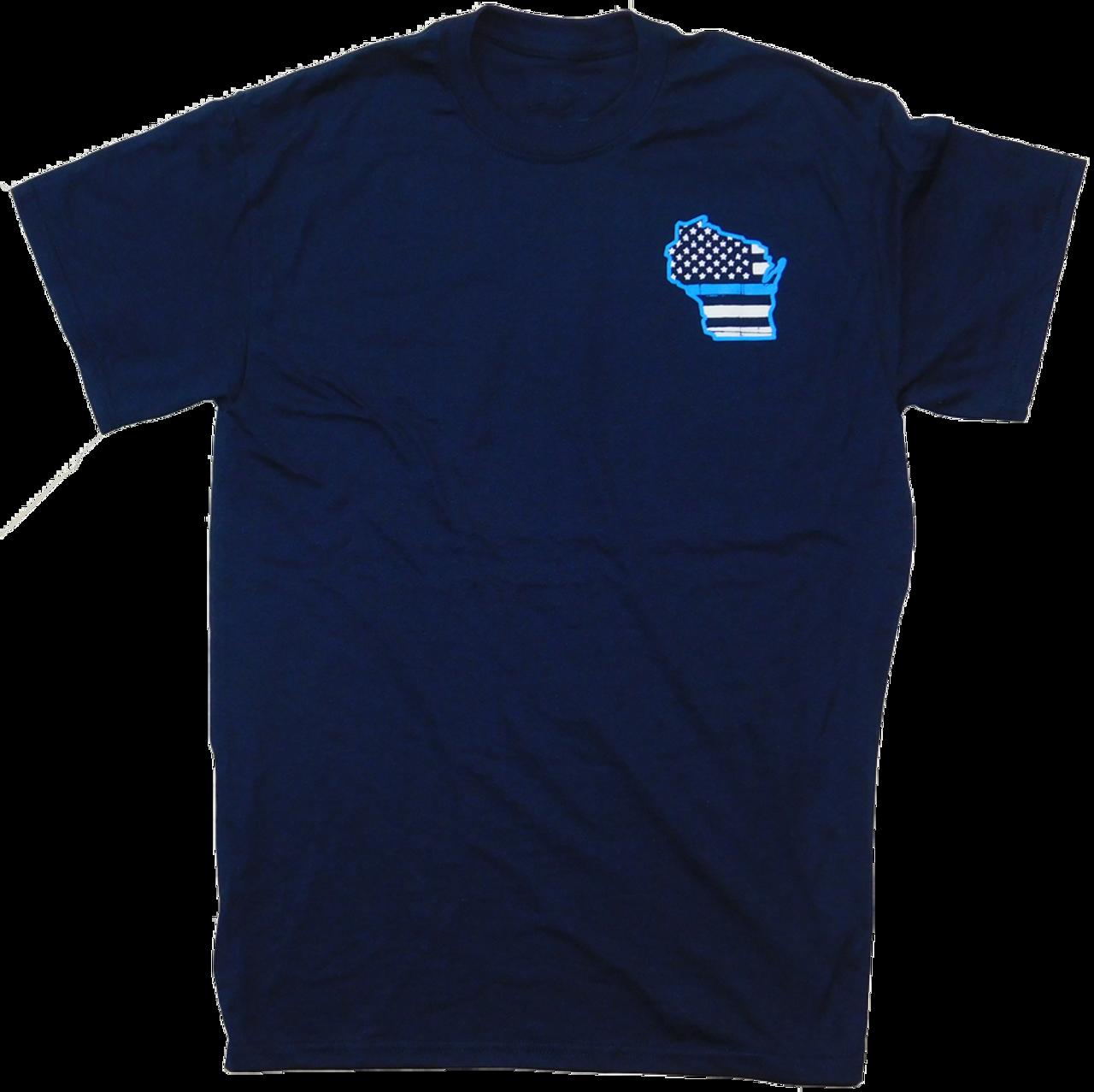 EMI-T-SS-Blue-Line: Navy Blue Wisconsin Blue Line Short Sleeve T by Eagle Media