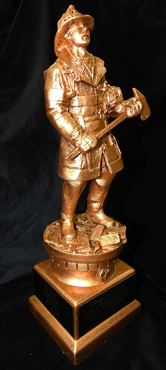 LSR-RSN-RF1129: Goldtone 13 inch Fireman Resin Statue with Axe