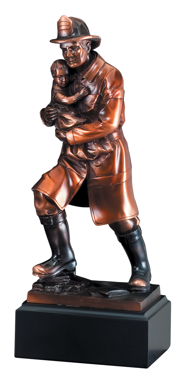 LSR-RSN-RFB064: 11.5 in. Firefighter w/Child Rescue Statue