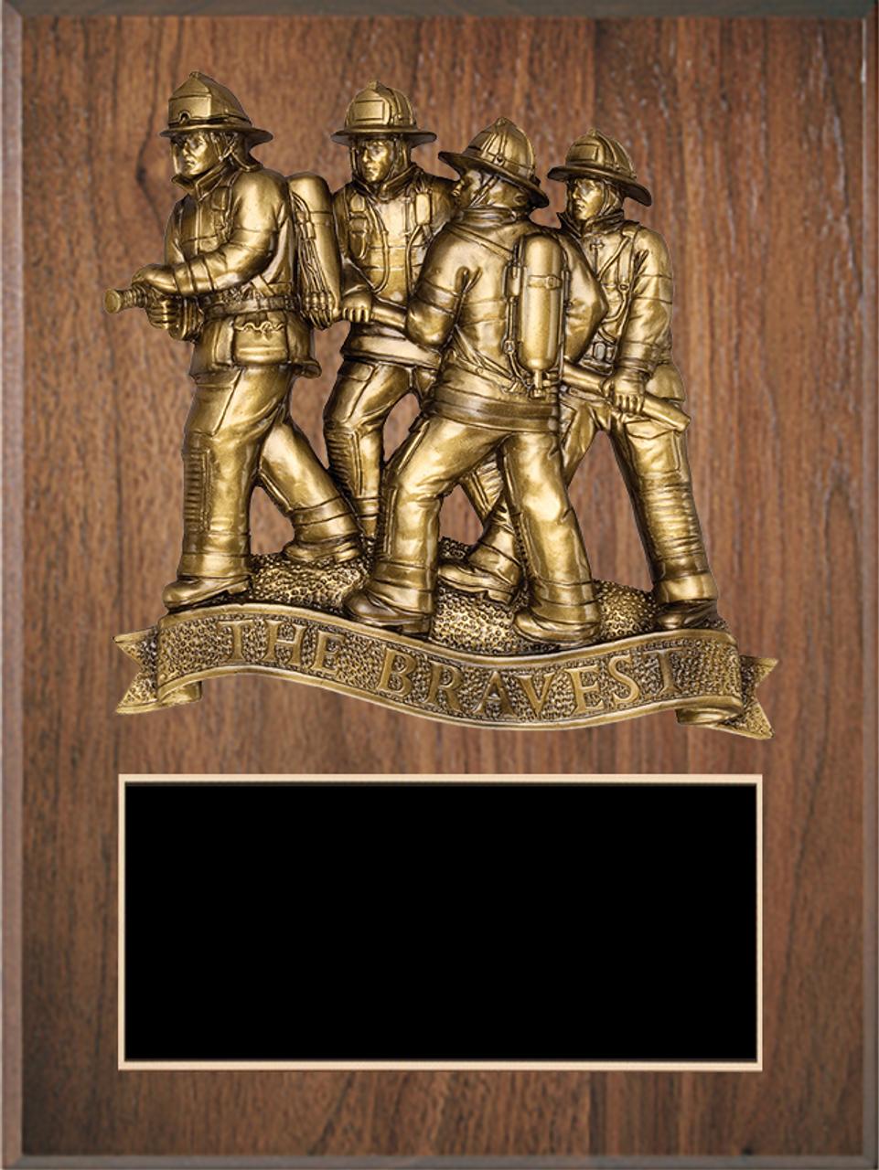 LSR-PLQ-SOL-FD25: Solid Wood w/Laser Engraved Black Brass Plate & Firefighter Casting