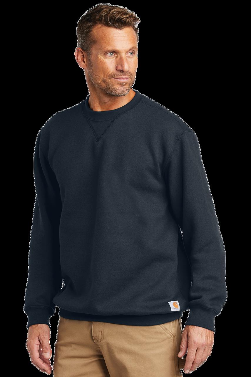 Black CTK124 Carhartt 10.5 oz Midweight Crew Neck Sweatshirt on Model