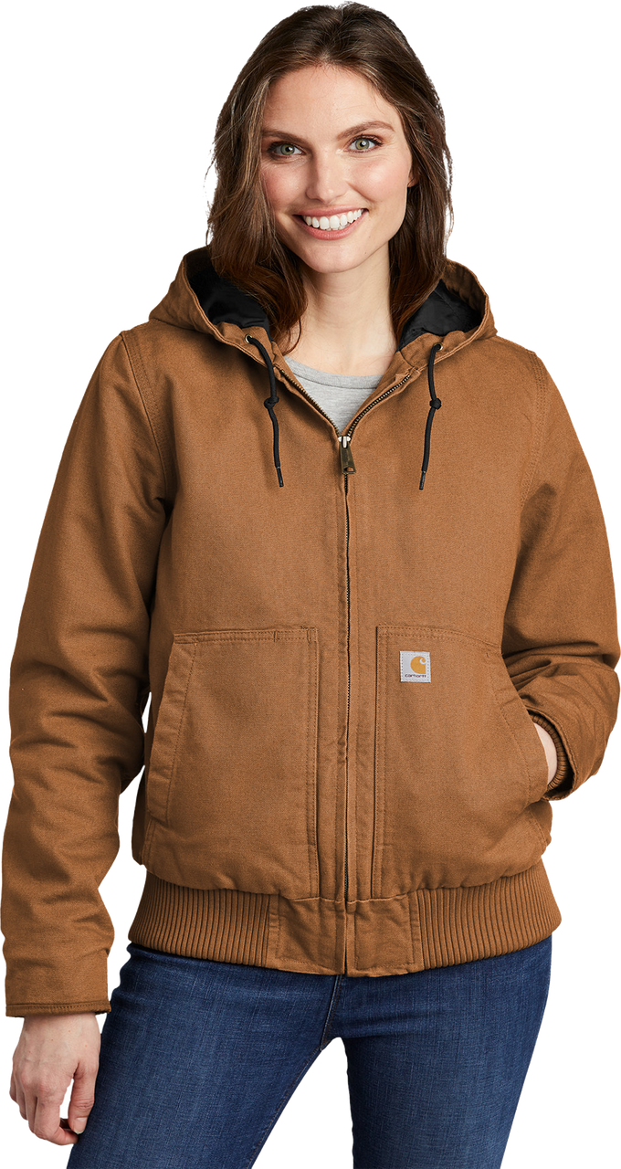 CT104053: Women's Carhartt Brown Model Washed Duck Active Jacket full front view