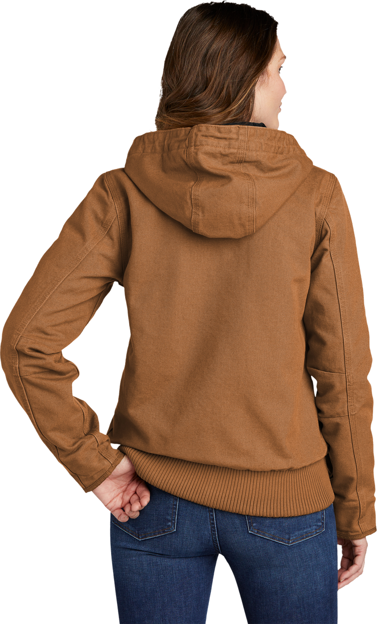 CT104053: Women's Carhartt Brown Model Washed Duck Active Jacket full back view