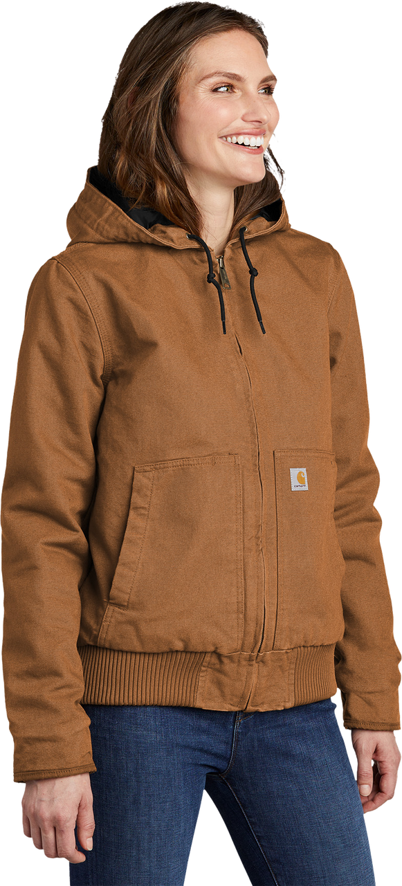 CT104053: Women's Carhartt Brown Model Washed Duck Active Jacket 3Q view