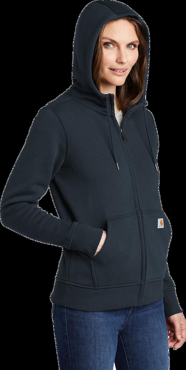 CT102788 Womens Navy Clarksburg Full-Zip Hoodie model quarter view
