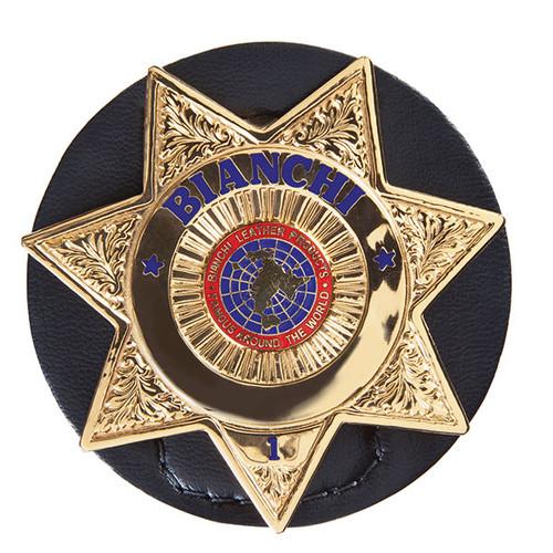 Round badge holder clip on