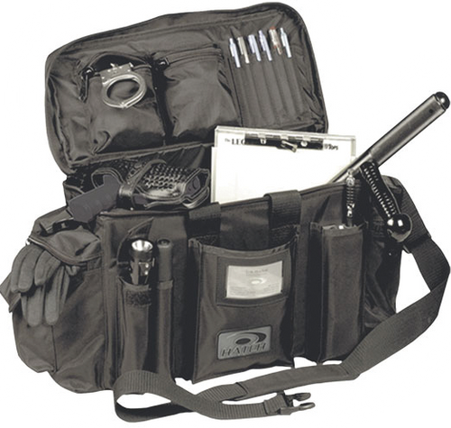 D 1 Patrol Bag Black by Hatch, Opened view.  In Stock at Eagle Media Inc Wind Lake Wisconsin
