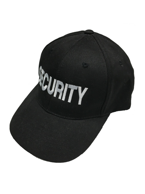 """Security"" in Teardrop Grey thread on Black"