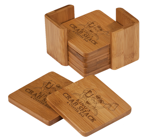 "CST011 - 3 3/4"" x 3 3/4"" Bamboo Square 6-Coaster Set with Holder"