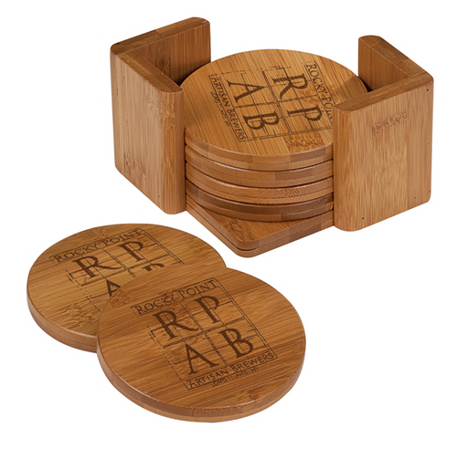 "CST012 - 3 3/4"" Bamboo Round 6-Coaster Set with Holder"
