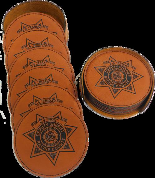 "GFT281 - 4"" Rawhide Round Laserable Leatherette 6-Coaster Set"