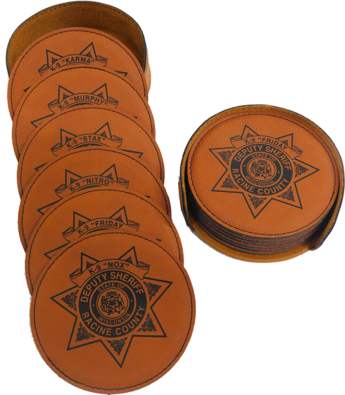"GFT281 - 4"" Rawhide Round Laserable Leatherette 6-Coaster Set"