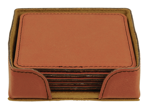 "GFT282 - 4"" Rawhide Square Laserable Leatherette 6-Coaster Set"