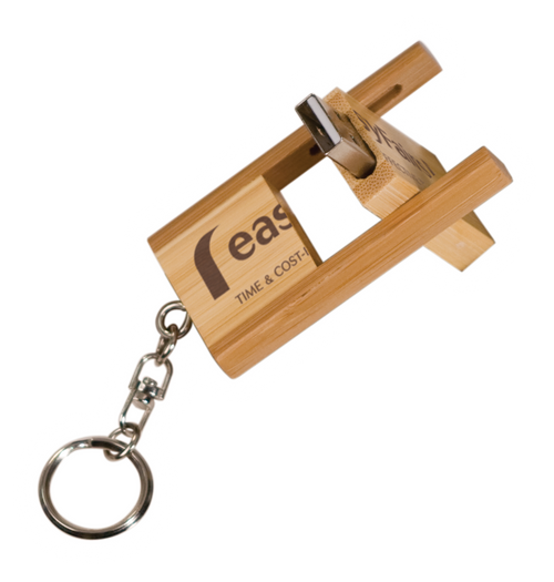 "8MEM003 - 1 3/8"" x 2 3/8"" 8GB 2-Tone Bamboo Flip Style USB Flash Drive with Keychain"