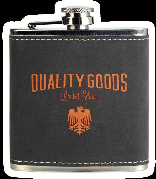 FSK612 - 6 oz. Dark Gray/Orange Textured Stainless Steel Flask