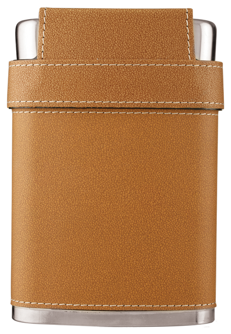 FSK705 - 7 oz. Leather Flask with Lid & 3 Shot Glasses