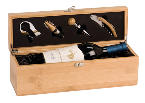 WBX31 - Bamboo Single Wine Box with Tools