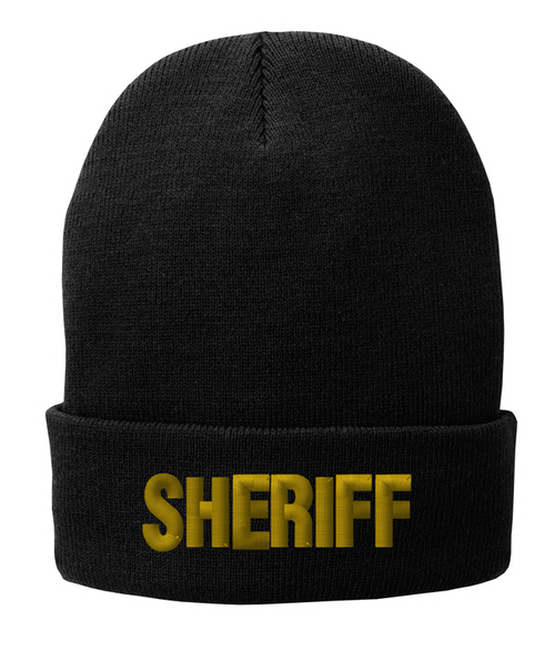 Fleece Lined Black knit cap 12 inch with Sheriff in Marine Gold Thread