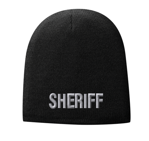 Fleece Lined Black knit cap 9 inch with Sheriff in Tear Drop Thread