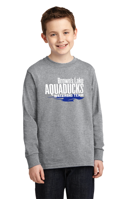 AQ-PC54YLS: Youth Long Sleeve Core Cotton Screened Tee by Port & Company