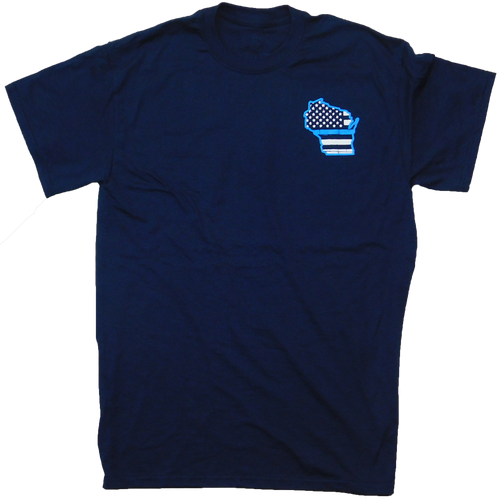 EMI-T-SS-Blue-Line: Navy Blue Wisconsin Blue Line Short Sleeve T by Eagle Media