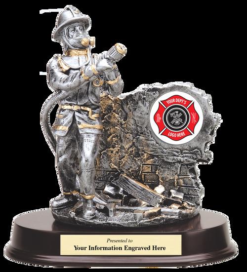 LSR-RSN-RF981SG: Firefighter Resin Statue with Hose