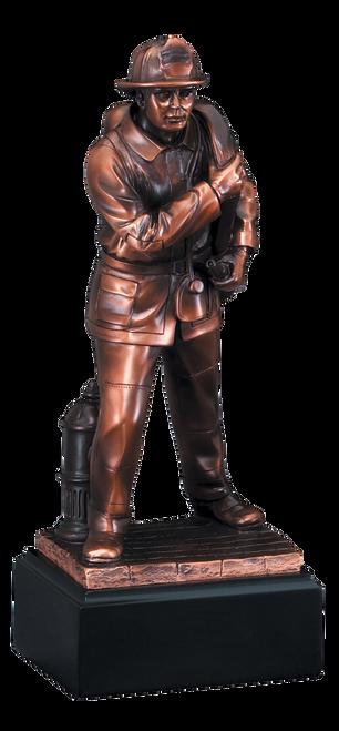 LSR-RSN-RFB059: 12 in. Firefighter w/Fire Hose Statue