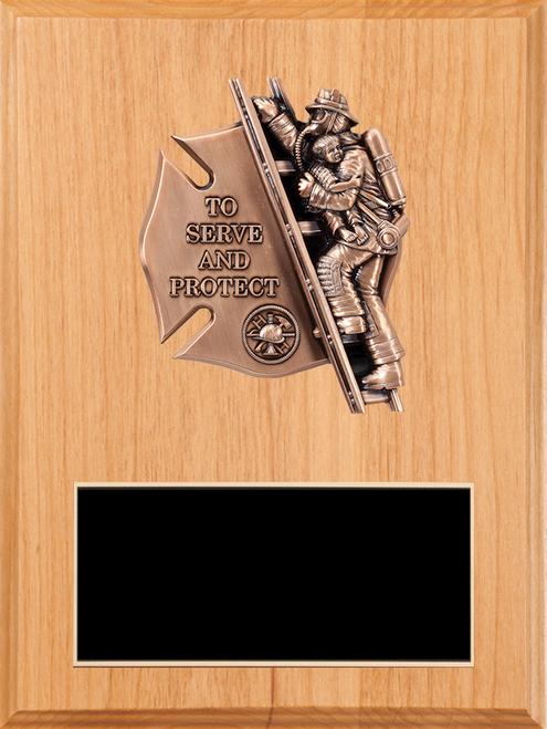 LSR-PLQ-SOL-FD39: Solid Wood w/Laser Engraved Black Brass Plate & Maltese Casting
