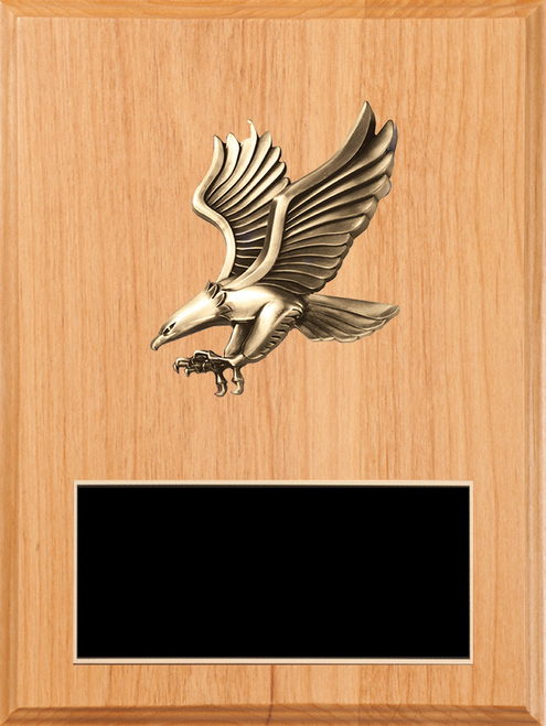 LSR-PLQ-SOL-PC50B: Solid Wood w/Laser Engraved Black Brass Plate & Eagle Casting