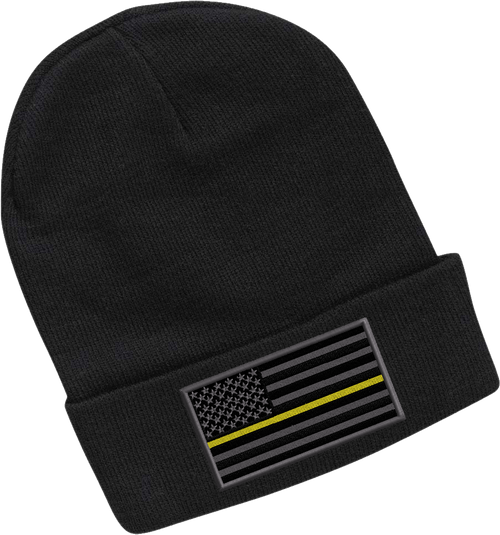 911-EMB-SP12-BLK: 911 Dispatch Yellow Line Flag 12 Inch Black Beanie