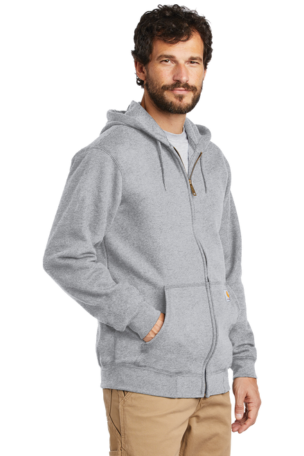 Heather Grey CTK122 Carhartt 10.5 oz Midweight Hooded Full Zip Sweatshirt on Model