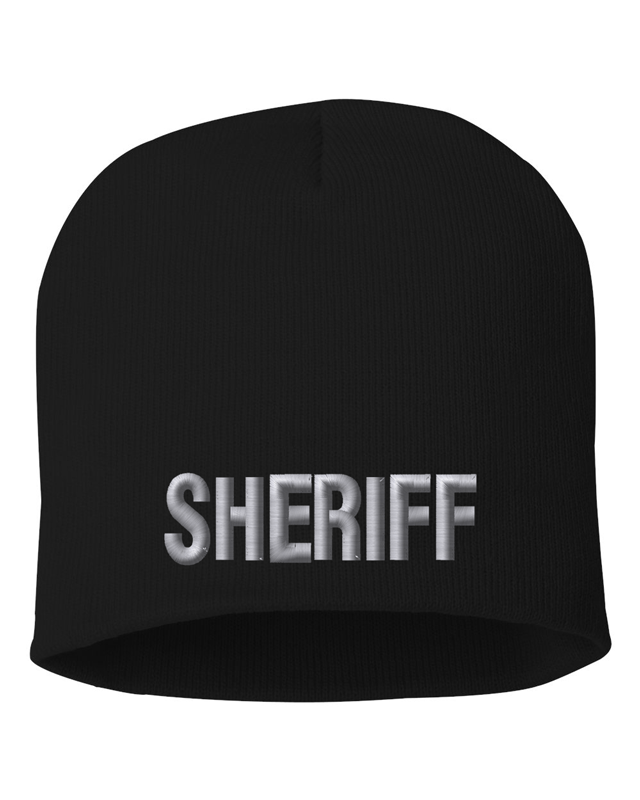Black knit cap 8 inch with Sheriff in Tear Drop Thread