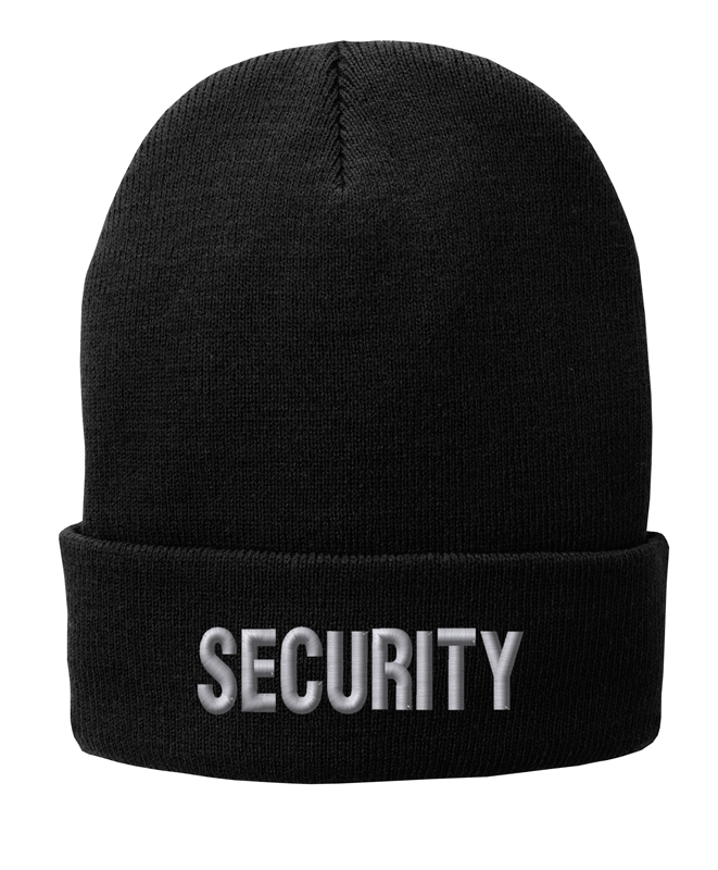 Fleece Lined Black knit cap 12 inch with Security in Tear Drop Thread