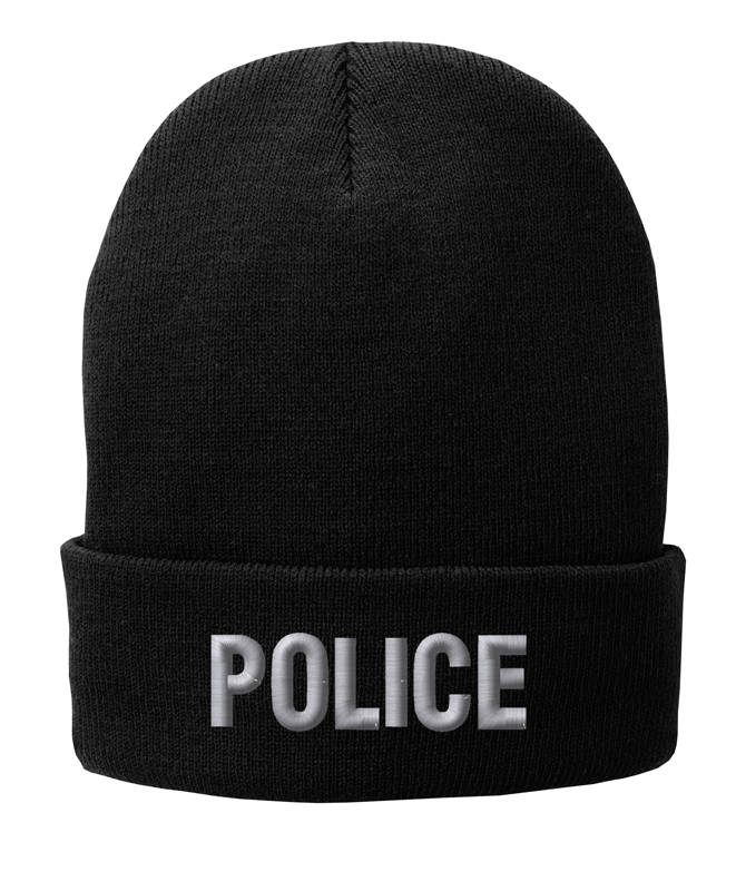 Black knit cap 12 inch with Police in Tear Drop Thread