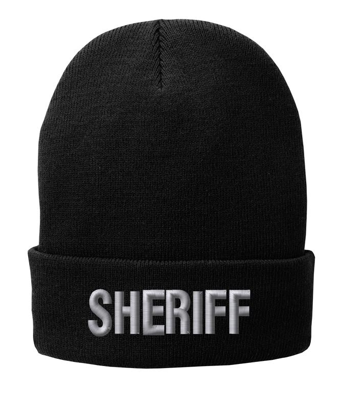 Black knit cap 12 inch with Sheriff in Tear Drop Thread