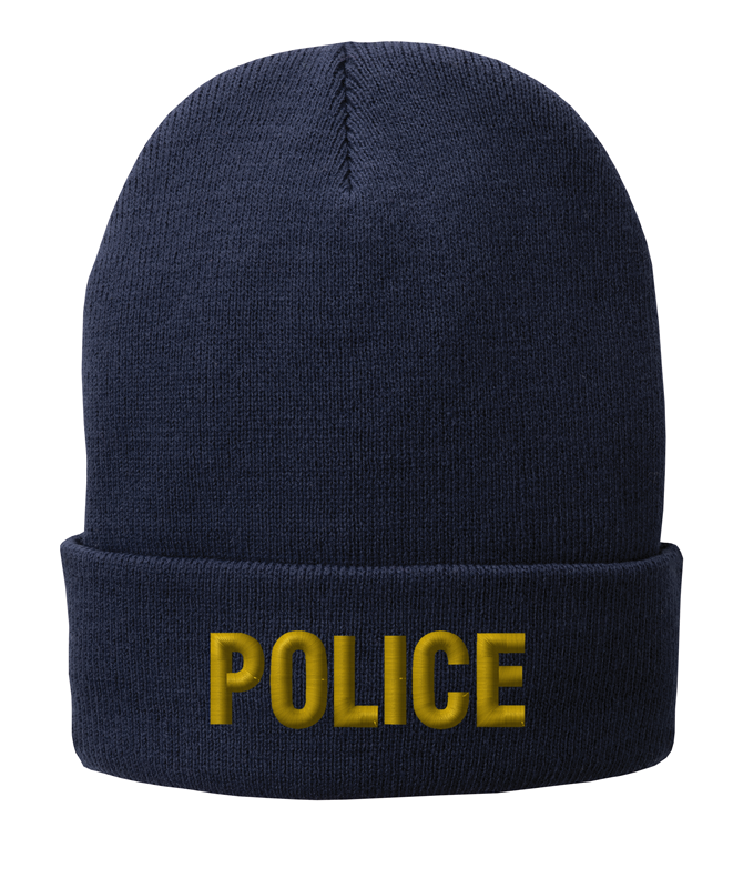 Navy knit cap 12 inch with Police in Marine Gold Thread