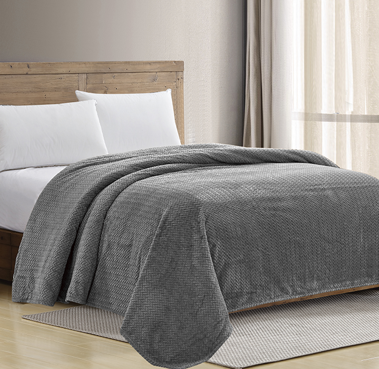 Sheradian Chevron Jacquard Braided Bed Cover Blanket $34.99 (65% OFF)