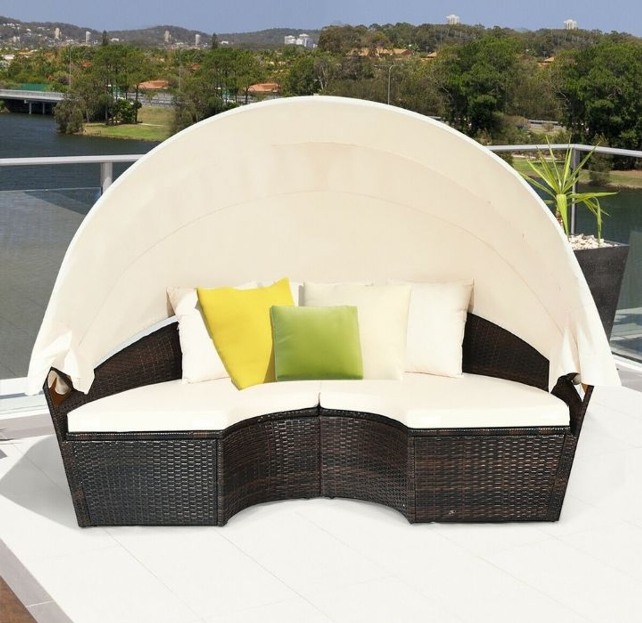 Costway Patio Rattan Daybed Cushioned Sofa Adjustable Table Top Canopy for Poolside (Brown)