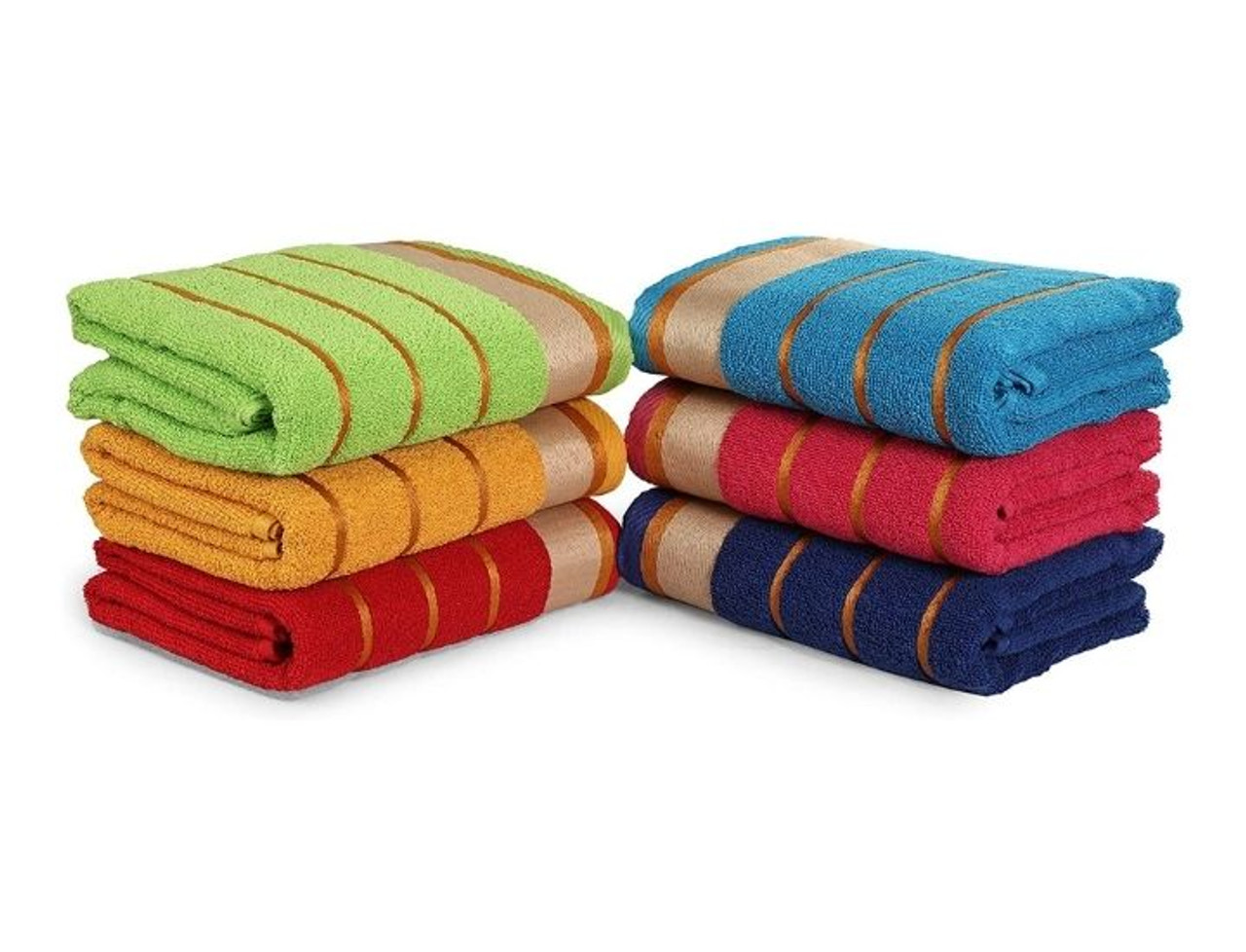 6-Pack Three-Line 100% Cotton Bath Towels