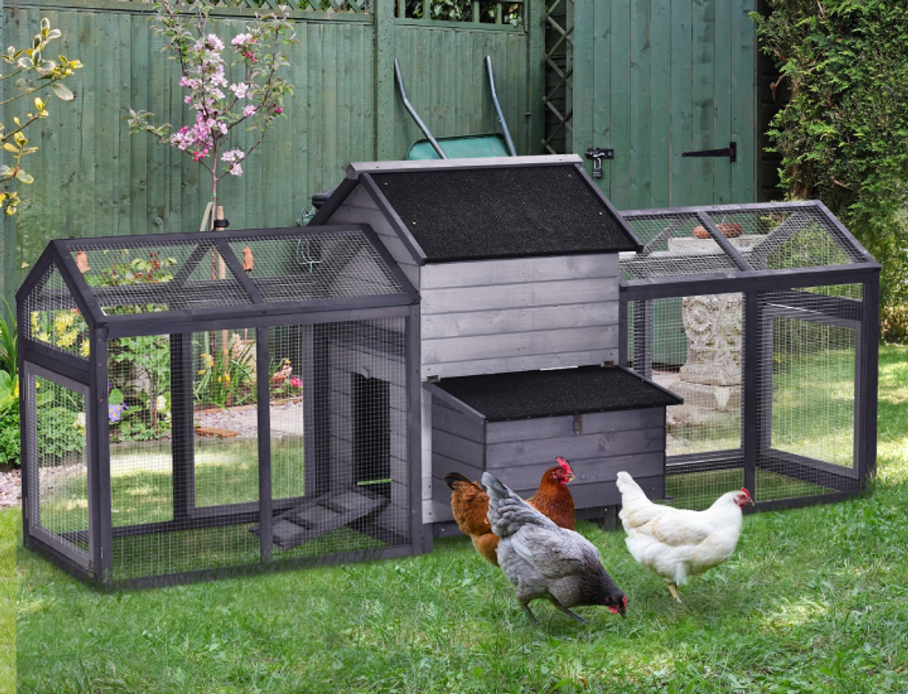 Outdoor Chicken Coop with Double Run & Nesting Box