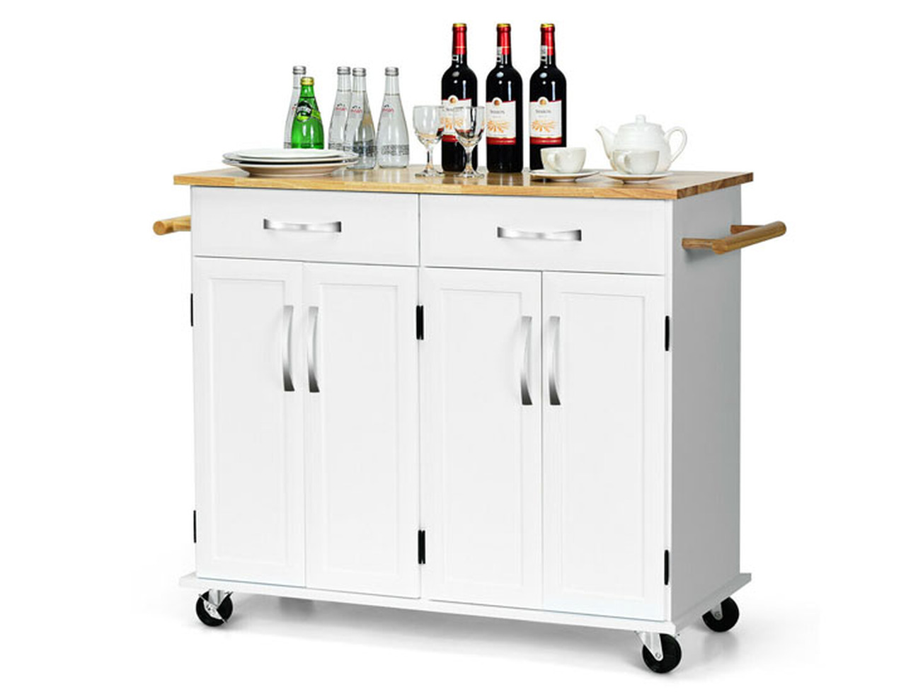 Rolling Wood Top Cabinet Kitchen Island Cart