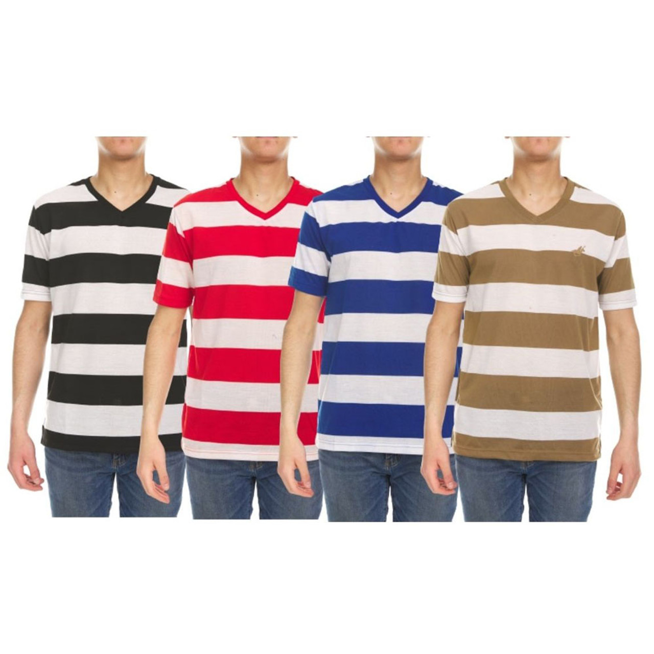 4-Pack Men's Striped Short Sleeve T- Shirts