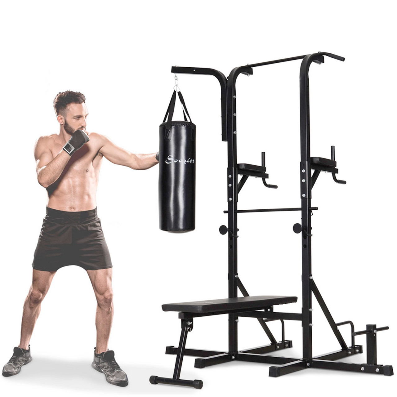 Soozier 86' Full Body Power Tower Home Gym with Punching Bag