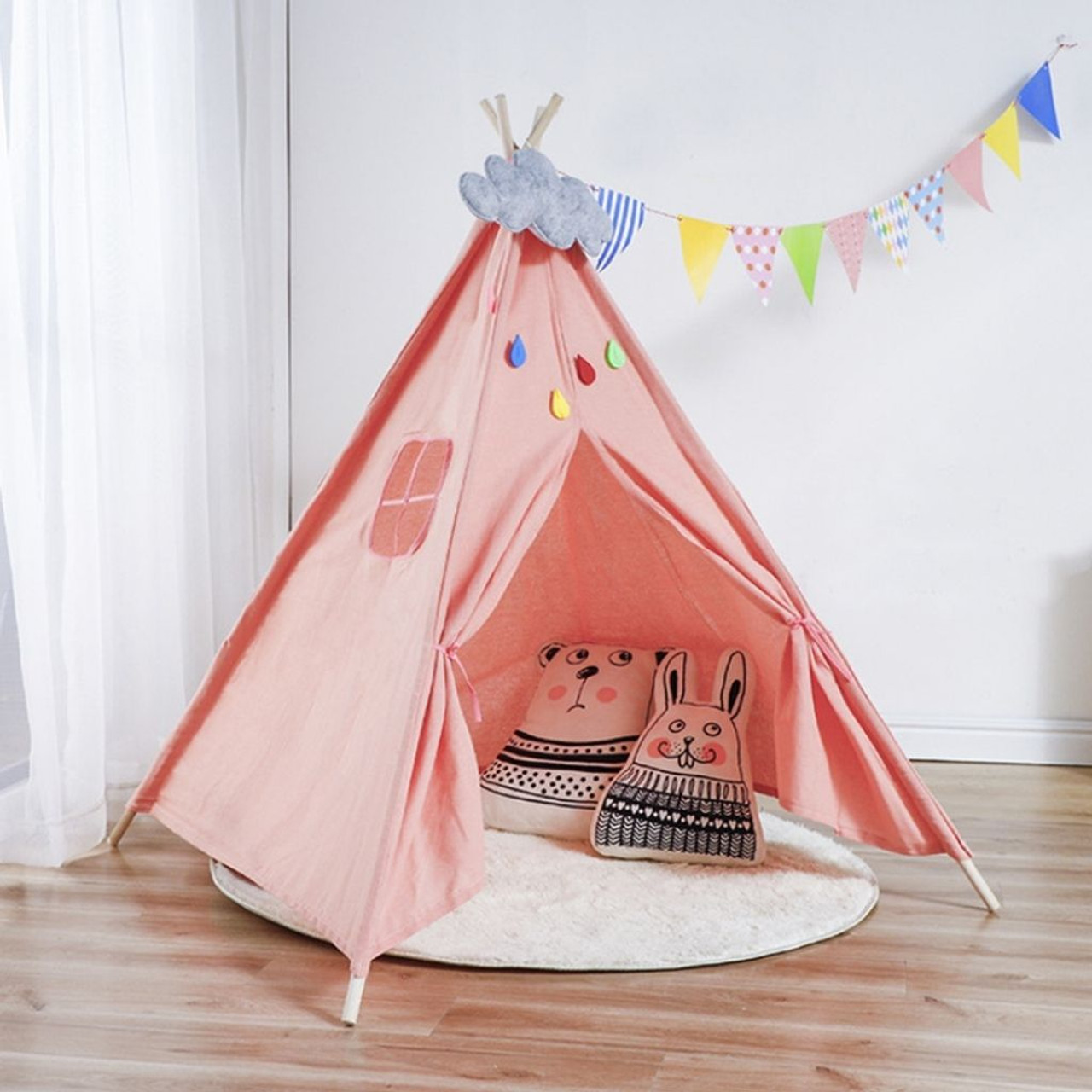 Kids' Indoor Tipi Tent with Natural Wood Poles! .99 with free shipping at UntilGone!