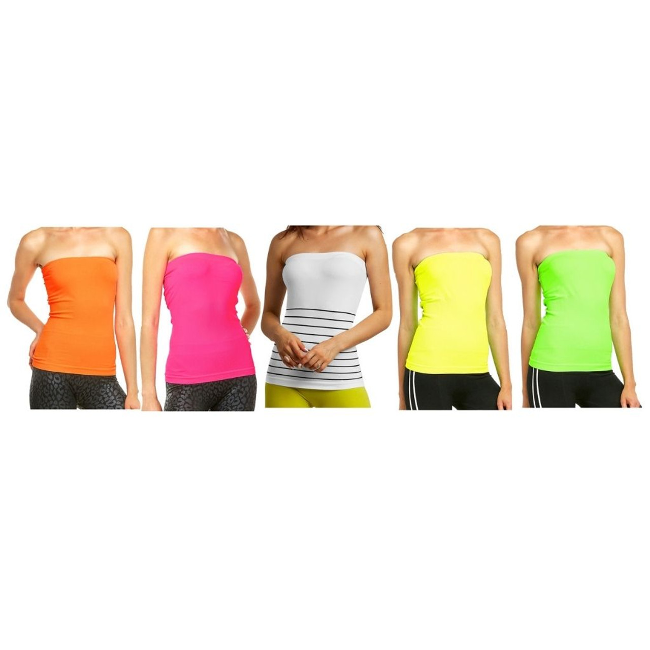 Women's Moisture-Wicking Bandeau Tube Top (5-Pack) $17.99 (86% OFF)